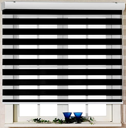 Foiresoft Custom Cut to Size, Winsharp Basic, Black, W 109 x H 95 inch Zebra Roller Blinds, Dual Layer Shades, Sheer or Privacy Light Control, Day and Night Window Drapes, 20 to 110 inch Wide