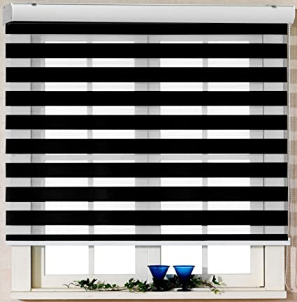 Foiresoft Custom Cut To Size Winsharp Basic Black W 43 X H 82 Inch Zebra Roller Blinds Dual Layer Shades Sheer Or Privacy Light Control Day