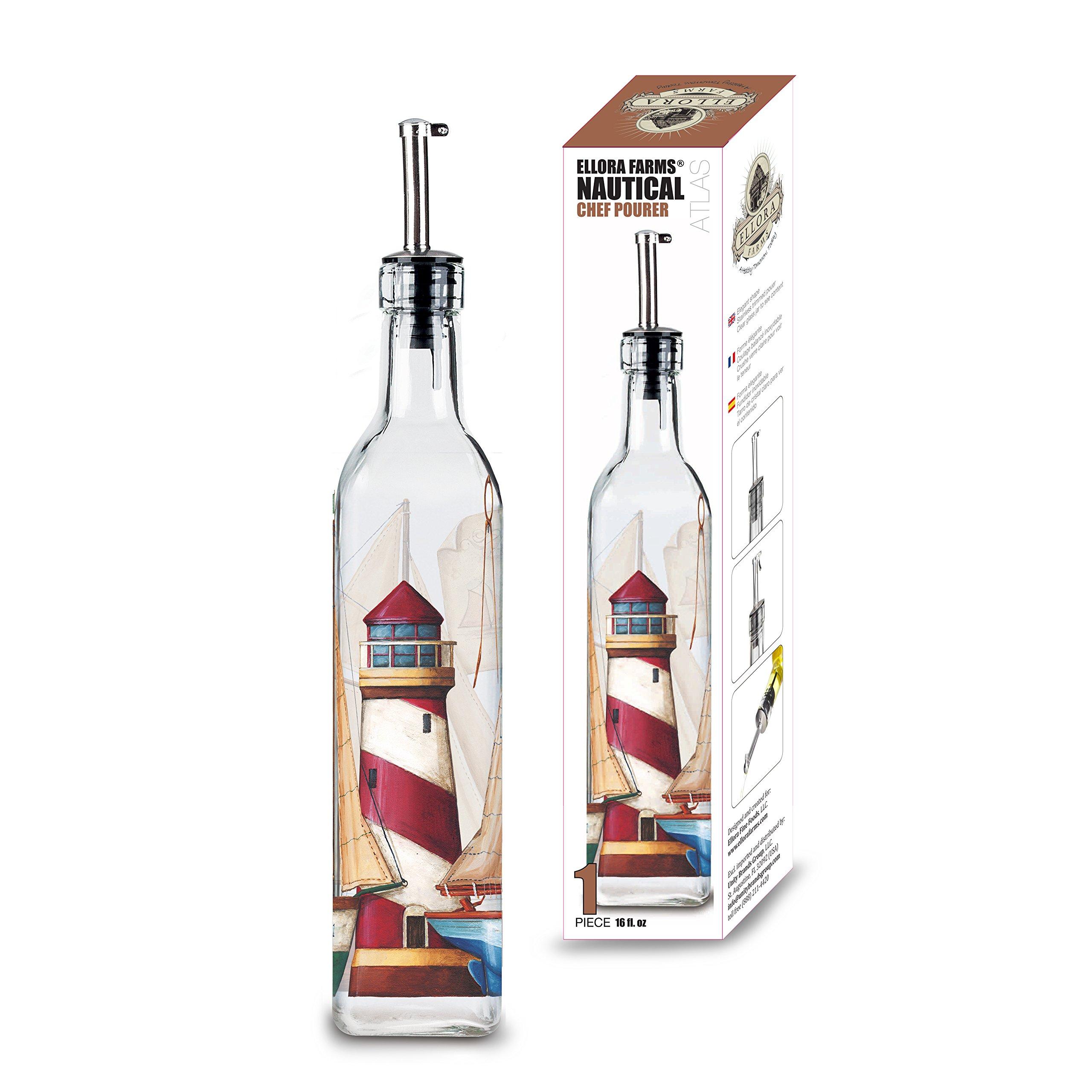 Ellora Farms | Atlas Chef Pourer | Oil & Vinegar large glass dispenser | Lighthouse Painted | Suitable for Olive Oil, Vinegar, Balsamic, Salad dressing, Wine | Large 17 Oz. Glass Bottle