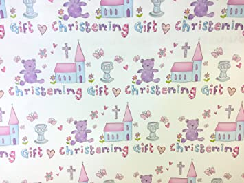 New Christening Gift Wrap For A Baby Boy Or Girl 2 Sheets And 1 Tag