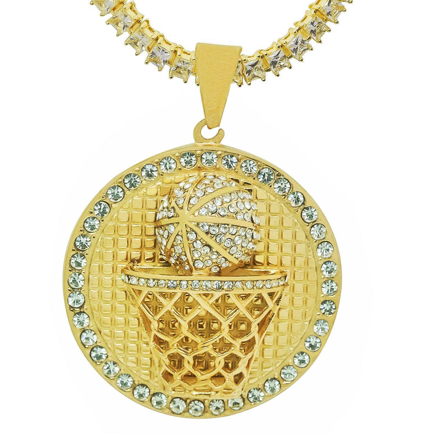 Stainless Steel Yellow Gold-Tone Iced Out Hip Hop Bling Round Basketball Hoop Pendant 1 Row Square Cubic Zirconia Princess Cut Stone Tennis Chain 18 Necklace Choker Chain
