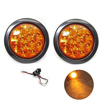 "Pair of 4"" Multifunction Amber Round Turn Tail Parking Signal Strobe Emergency LED Light for Truck Trailer RV w Plug Grommet: Automotive"