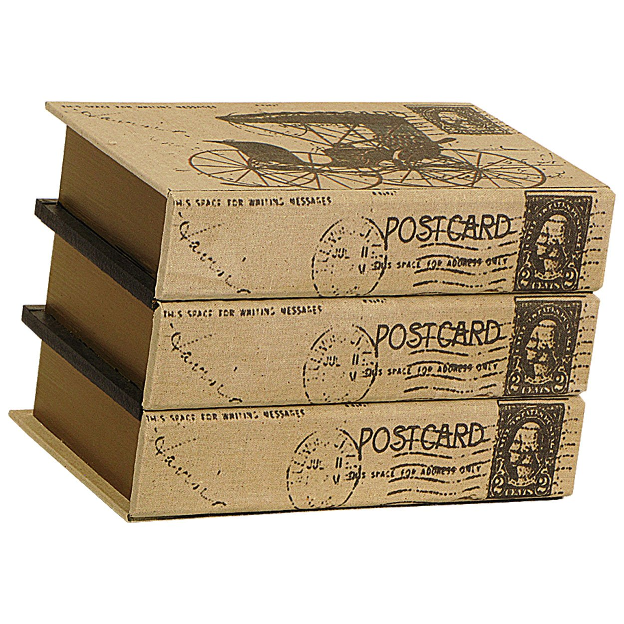 Carrick Design Wood and Canvas Book Chest, Multi-Colour, 27 x 18 x 19 cm
