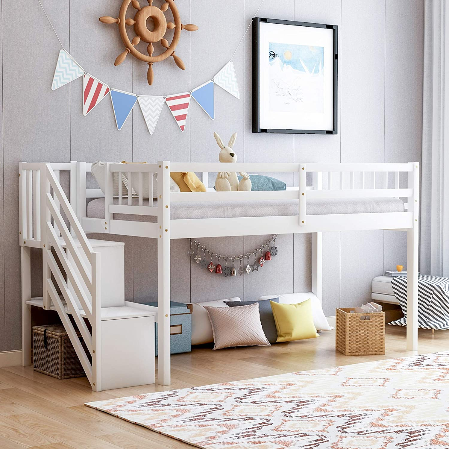 White Solid Wood Loft Bed Twin Size with Handrails Wide Step Ladder Storage