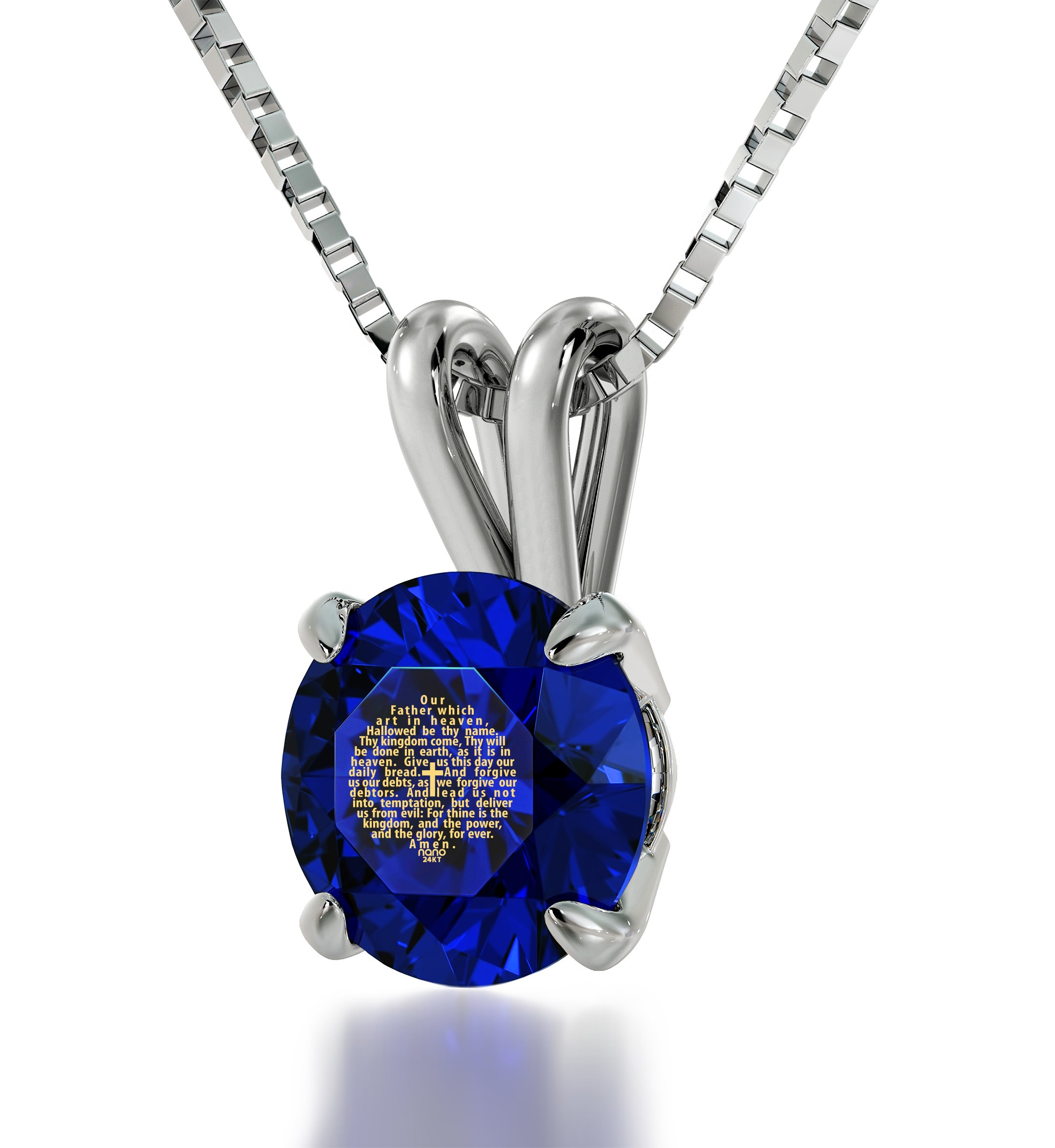 925 Sterling Silver Lord's Prayer Necklace Christian Pendant King James Version Inscribed in 24k Gold on Blue Swarovski Crystal, 18''