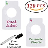 Reusable Plastic Wine Bottle Tags 120 Pieces Dual Two Sided Custom Red & Green/White Blank Erasable Cellar Vino Racks Value Pcs Pack Bonus Marker Count Perforated Lines Fits Most Wine Neck Bottles