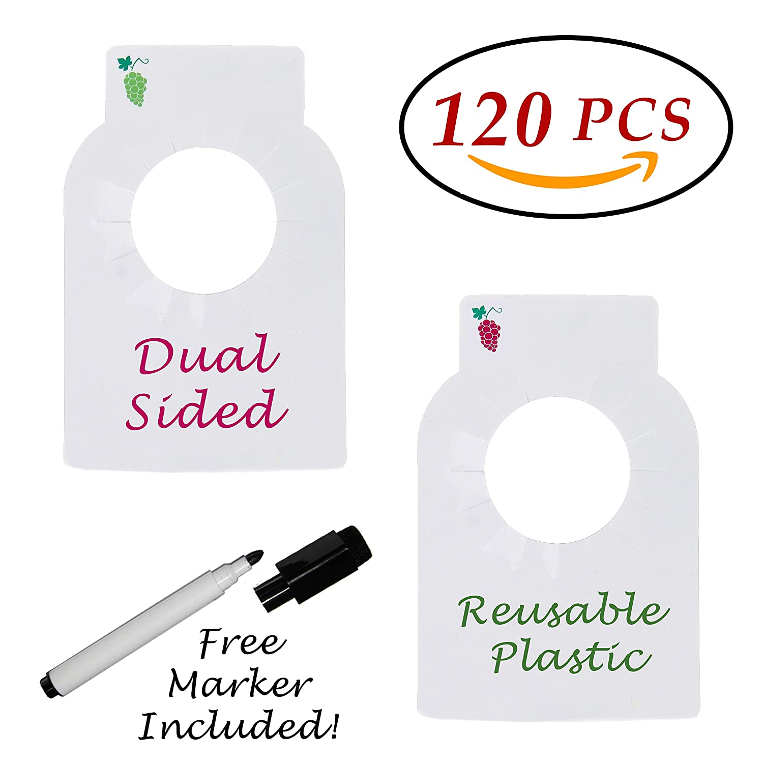 Reusable Wine Bottles Tag Racks Bottle Labels Hang Tags Cellar Storage Glass Markers Plastic Custom Label Fit Enthusiast Erasable Wipes Dry Erase Marker Colored Rack Bulk Blank Liquor Hangers 120 PCS Dapper Display