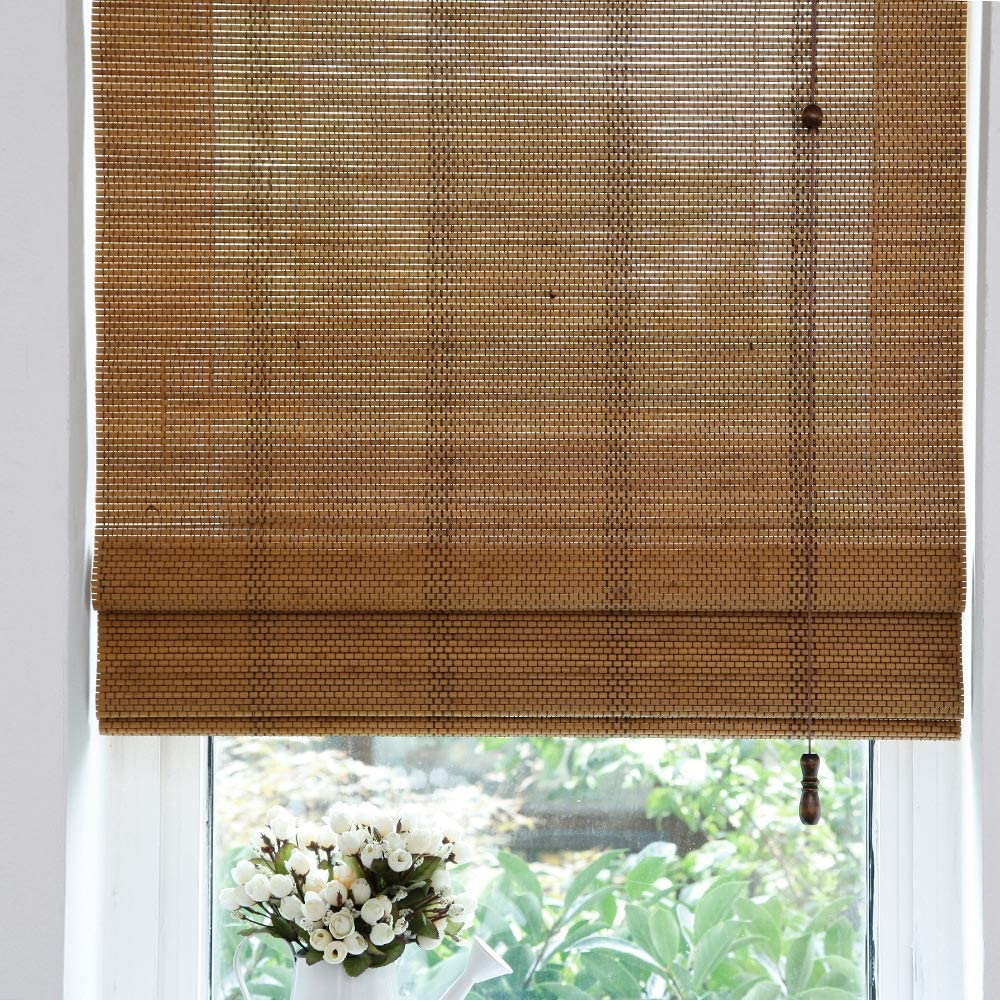 LETAU Wood Window Roman Shades, Bamboo LightFilteringWindow Blinds for Indoor Home, Kitchen, Office, Pattern 10