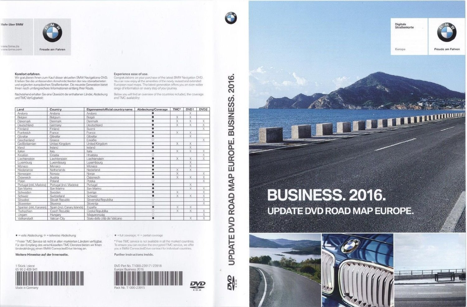 BMW Update DVD Road Map Europe Business 2016 (65 90 2 409 941 ...