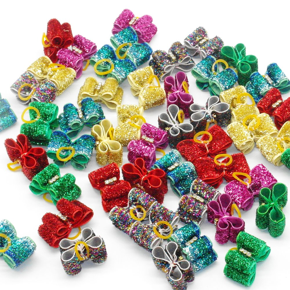 Berry mignon chien nœuds en nylon avec bandes élastiques en caoutchouc cheveux Toilettage Cafard cadeau multicolore BerryPet