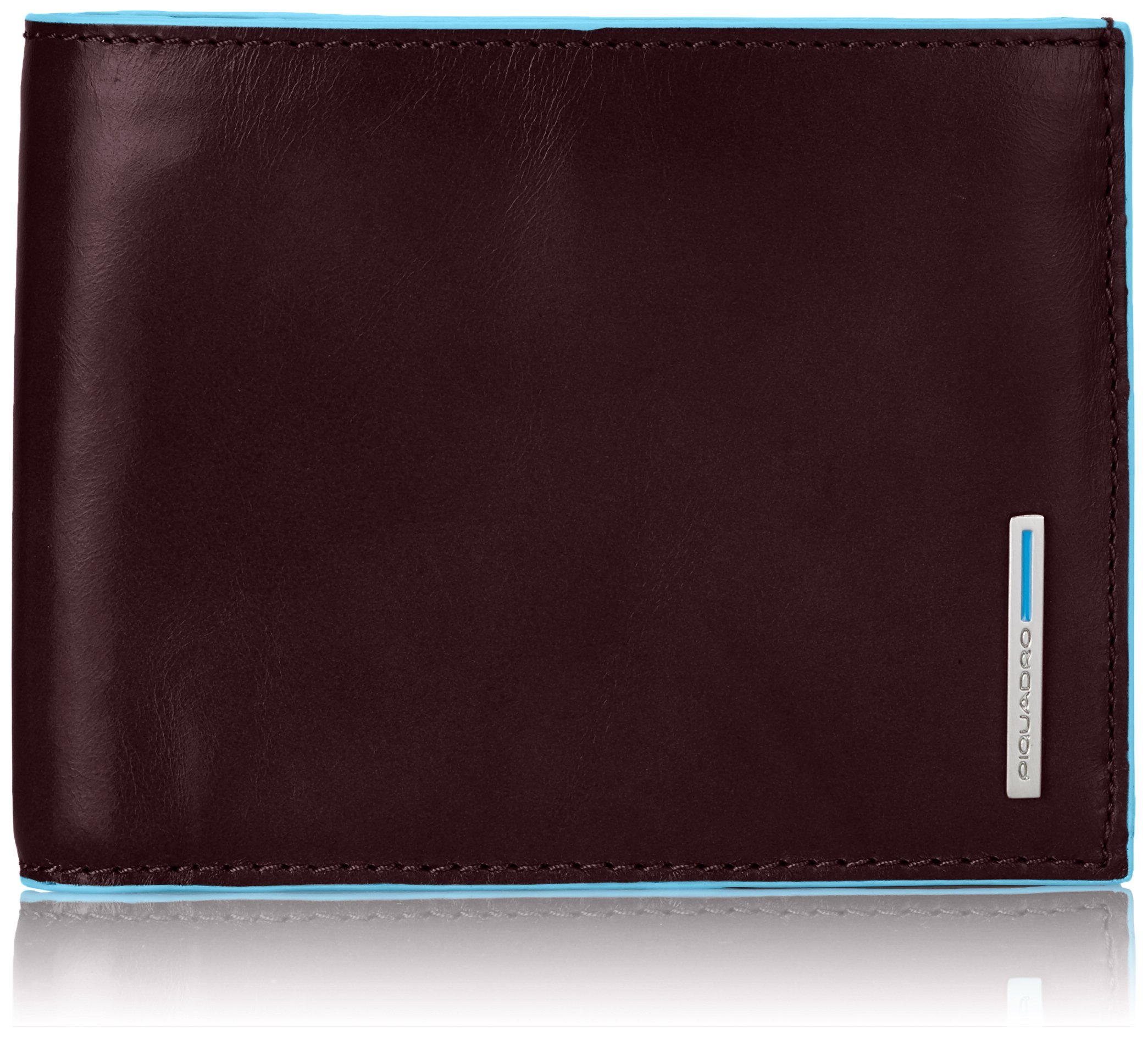 Piquadro Leather Man's Wallet with Coin Case and Document Holder, Mahogany, One Size
