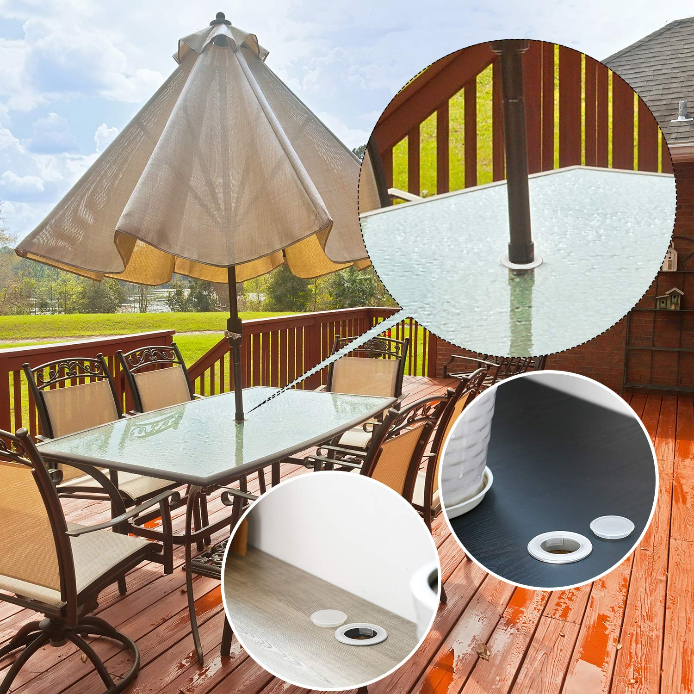 2, Brown Transparent Pelopy Umbrella Cone Wedge and Table Umbrella Hole Ring and Cap Set for Outdoor Patio Umbrella Umbrella Pole Diameter 1 1//2 Inch or Smaller