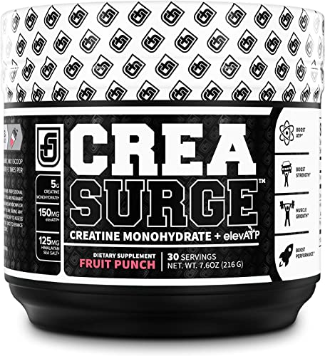 CREASURGE Pre Workout Creatine Powder w ElevATP – Muscle Builder Preworkout Strength Supplement Boost ATP, Muscle Growth, Power Performance – Caffeine Free – 30 Sv, Fruit Punch