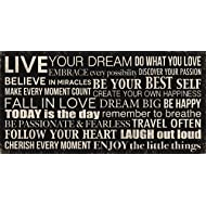 Live Your Dream.  Do What You Love. Embrace Every Possibility. Discover Your Passion.... Printed Canvas Art, 24 by 12-Inch Perfect for Any Decor