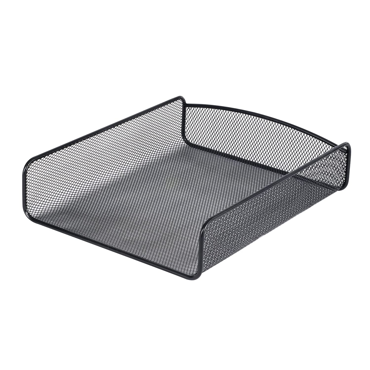 Safco Products Onyx Mesh Single Tray Desktop Organizer 3272BL, Black Powder Coat Finish, Durable Steel Mesh Construction