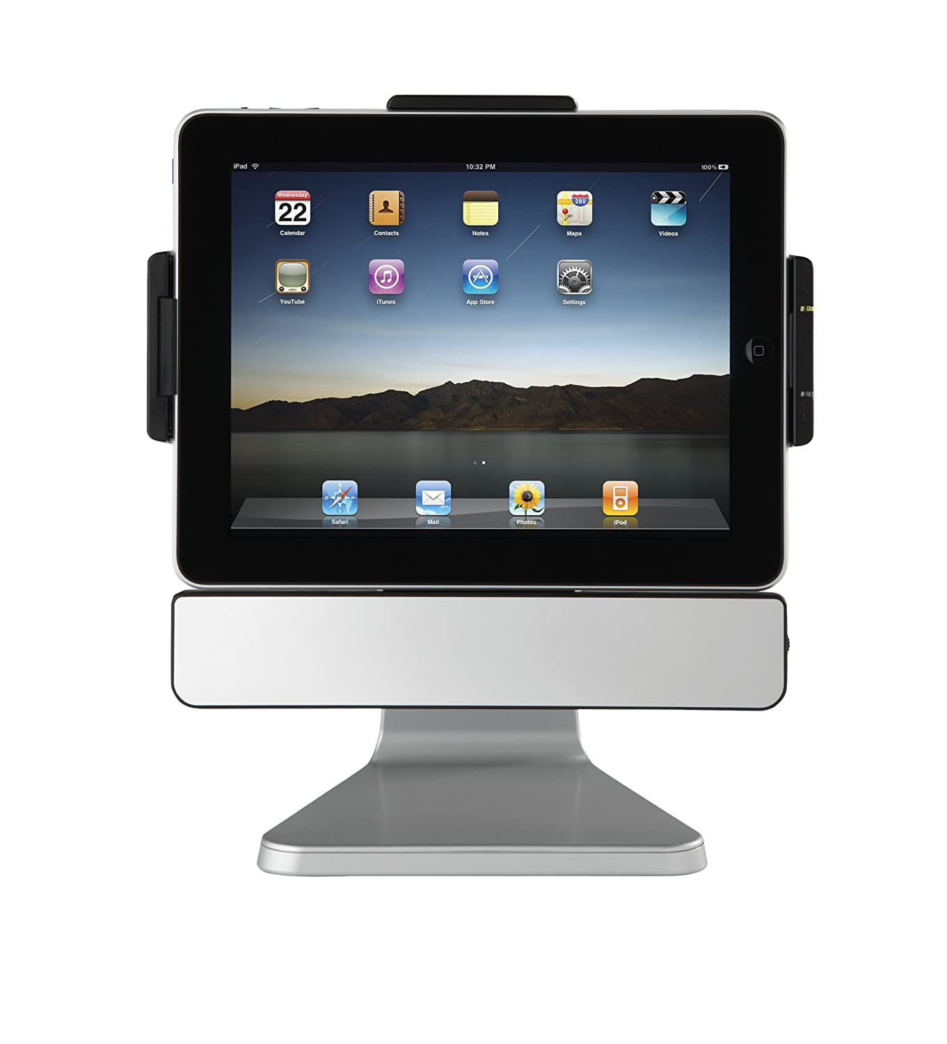 SMK-LINK & GYRATION Paddock 10 Stand for The Apple iPad 1 with Speaker Charge and Sync Rotate (VP3650), Silver