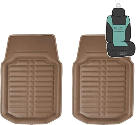 FH GROUP FH-F14409 Front Set 3D Faux leather floor liners Solid Brown Color