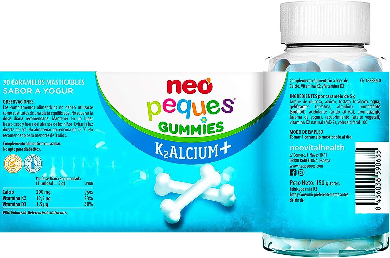 Neo Peques Kalcium Gummies Caramelos - 30 Unidades   Gominolas a Base de Calcio, Vitamina K2 y D3   Tomar 1 o 2 al día   Para Mayores de 3 años   ...