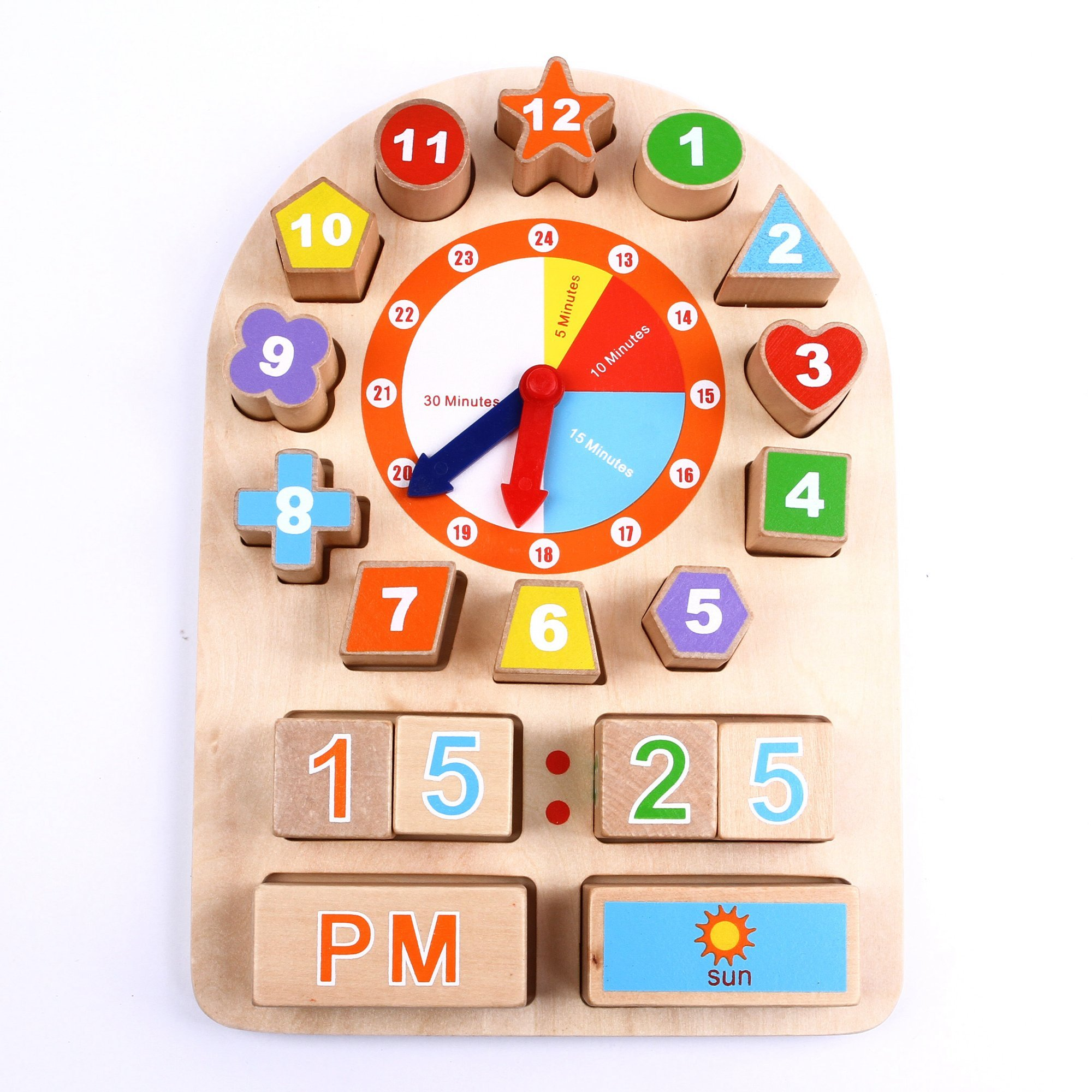 Iplay Ilearn Sorting Clock Wooden Shape Sorting Clock Educational Toy For Pre.. 14