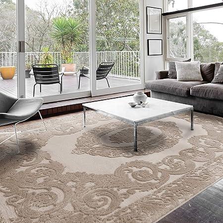 mynes Teppiche Wohnzimmer Beige & Grau Kurzflor mit Medaillon Muster  Designer Teppich hochwertig Vintage-Style in versch. Größen [Art 10] (10  x 10