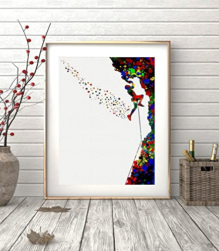Rock Climbing Watercolor Posters Art Prints Sports Wall Decor Artworks Dining Room