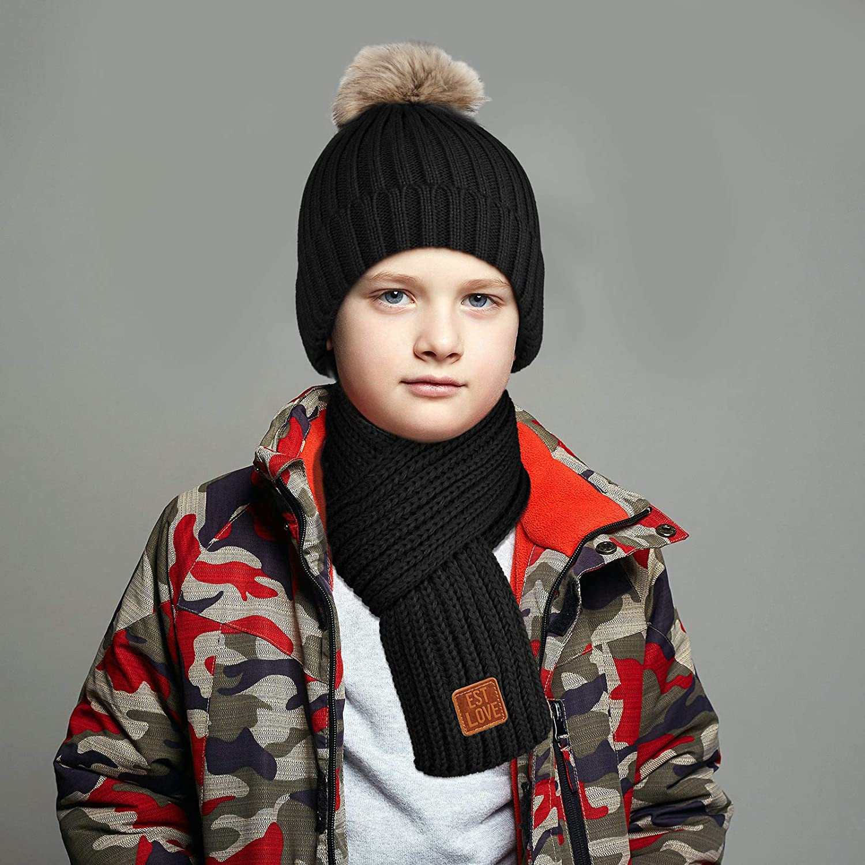4 Pieces Kids Beanie Hat Scarf Gloves Socks Set Knit Winter Warm Set for Toddler