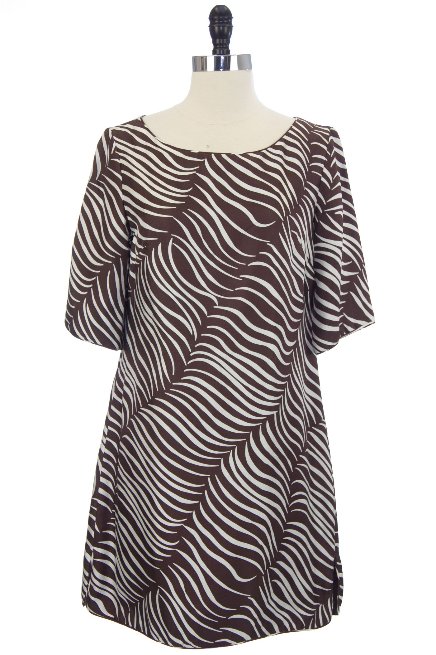 Elizabeth Mckay Women's Cropped Sleeve Lindsay Tunic Dress 4 Chocolate Multi