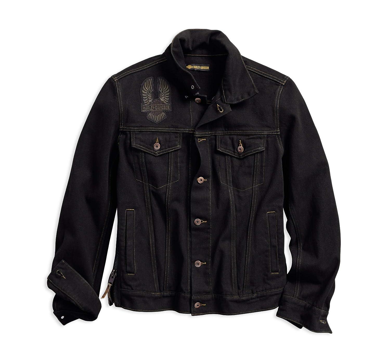 Harley-Davidson Official Men's Eagle Appliqué Slim Fit Denim Jacket, Black Harley-Davidson Motor Company Inc.