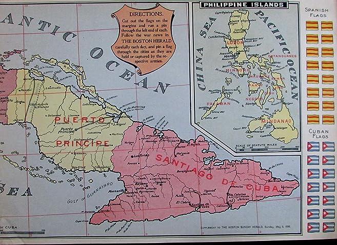 Amazon cuba philippines spanish american war interactive flag cuba philippines spanish american war interactive flag map 1898 boston herald gumiabroncs Images