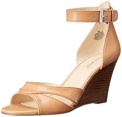 Nine West Women's Firstplace Leather Wedge Sandal, Light Natural, ...