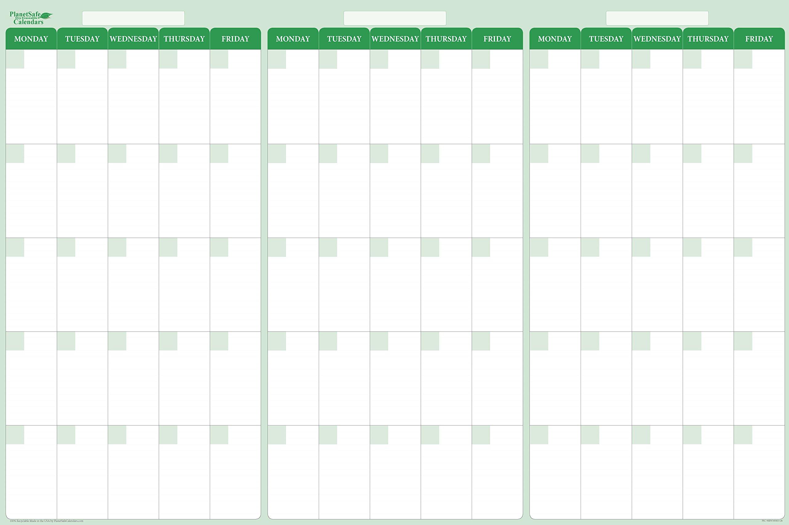 Earth Green 90-Day 3-Month Quarterly Dry/Wet-Erasable Horizontal Calendar 38 in. x 58 in.(MF-VHGR)