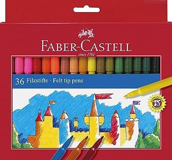 Faber Castell 554236 - Estuche de cartón con 36 rotuladores escolares con punta de fibra, multicolor