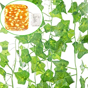 Naidiler 84 Ft 12 Pcs Artificial Ivy Garland Fake Vines with 100 LED 32 Ft Light Decor Faux Green Hanging Plant Greenery for Wall Party Wedding Room Home Kitchen Indoor & Outdoor Decoration
