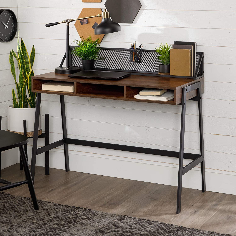 Walker Edison Furniture Company Industrial Mesh Wood Laptop Computer Writing Desk Home Office Workstation Small, 42 Inch, Dark Walnut