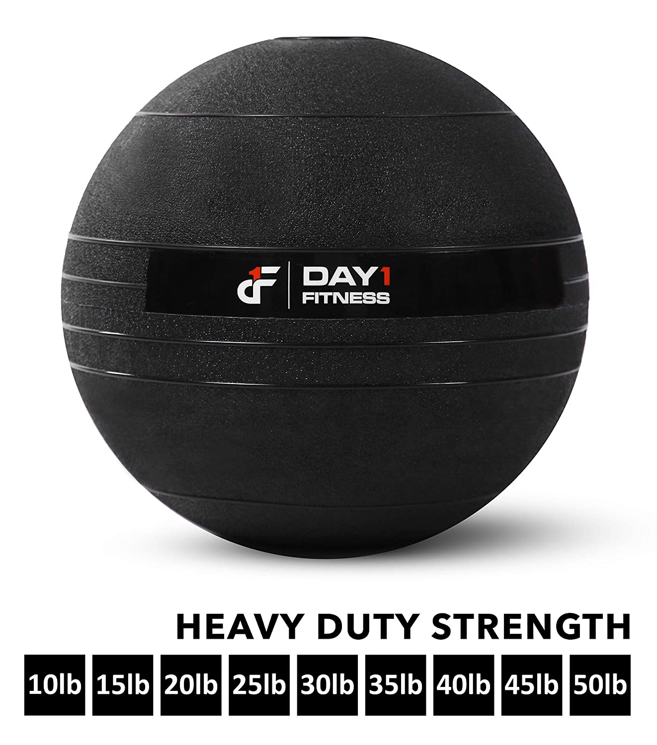Weighted Slam Ball by Day 1 Fitness 9 Sizes Available, 10-50 Pounds – No Bounce Medicine Ball – Gym Equipment Accessories for High Intensity Exercise, Functional Strength Training, Cardio, CrossFit