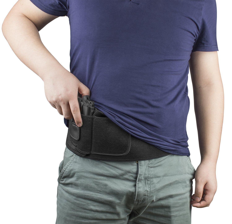 Gun Holster Belt Concealed Carry Belly Band Holsters for Men and Women, Adjustable Hand Gun Holder for Pistols Revolvers, Glock 19 43 42 17, M&P Shield, S&W, Ruger lcp, Bodyguard 380 (black)