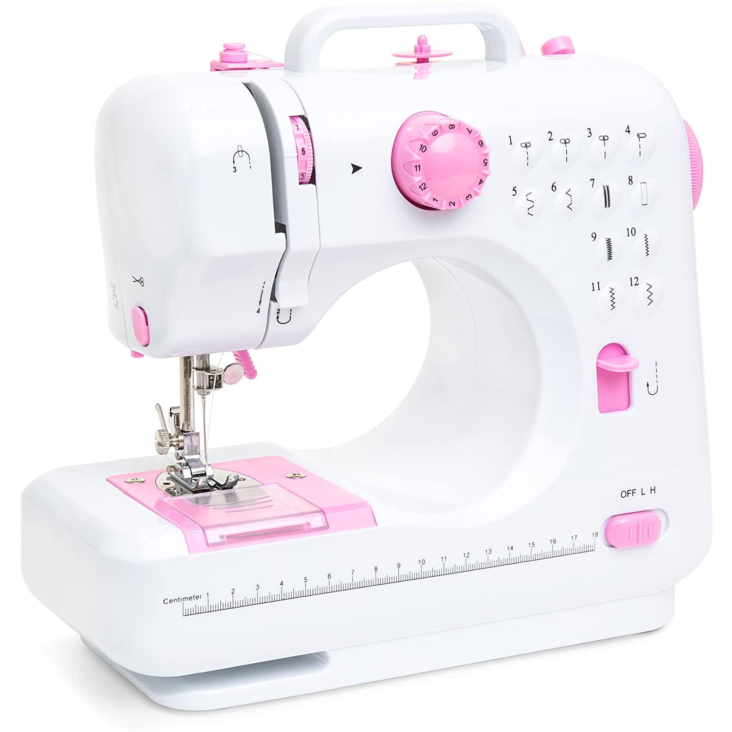 Best Choice Products 6V Compact Sewing Machine w/ 12 Preset Stitch Patterns  Built-In Sewing Light  Drawer & Foot Pedal