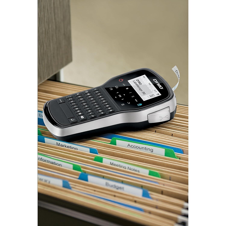 LabelManager 160 /Étiqueteuse Portable Clavier AZERTY S0946350 D1 Ruban d/Étiquette R/ésistant pour Etiqueteuse 12 mm x 5,5 m Noir//Blanc Dymo