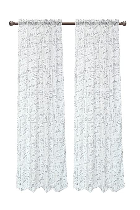 Pack Of 2 CaliTime French Script Faux Linen Soft Semi Sheers Rod Pocket Window Curtain