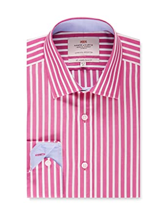 a3b4efdbc758 HAWES & CURTIS Mens Formal Fuchsia & White Bold Stripe Slim Fit Dress Shirt  with Contrast Detail - Single Cuff - Easy Iron at Amazon Men's Clothing  store:
