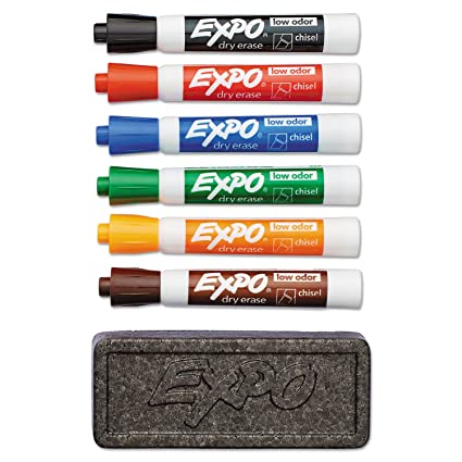 EXPO 80556 Dry Erase Marker & Organizer Kit Chisel Tip Assorted 6/Set