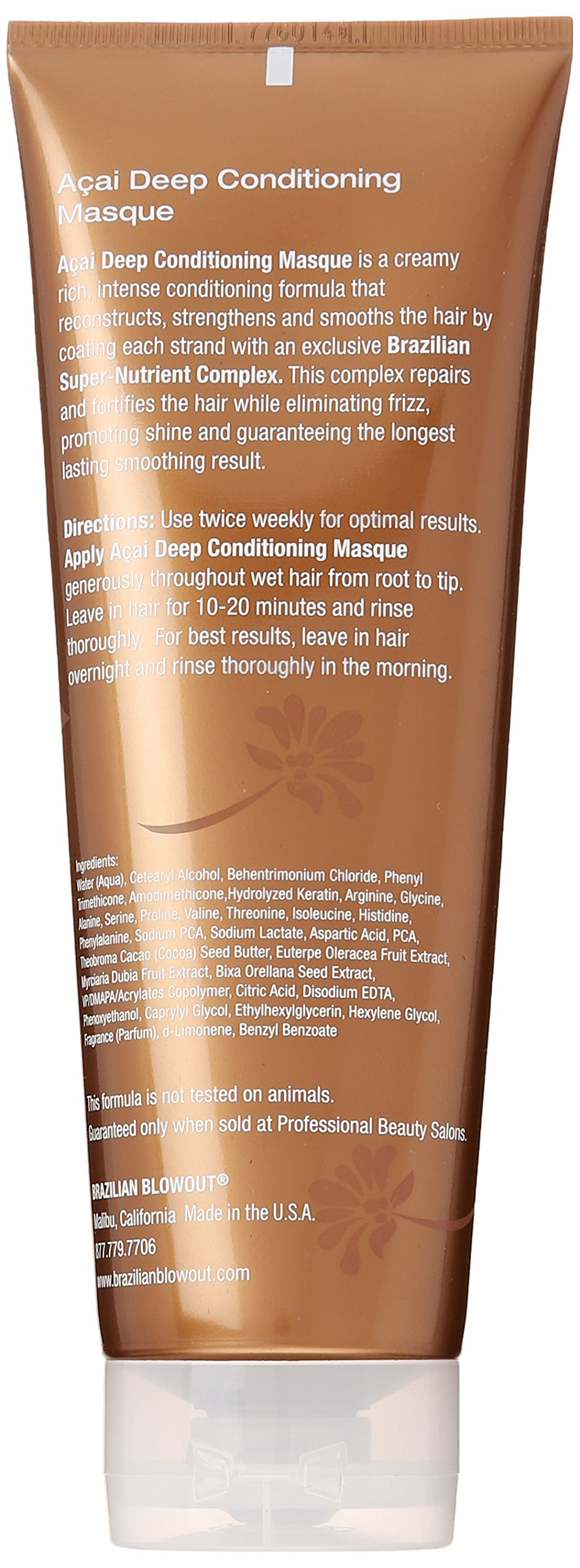 Brazilian Blowout Acai Deep Conditioning Masque for Unisex, 8 Ounce