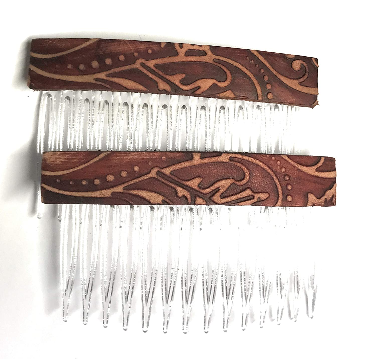 Rustic Boho Brown Vines Leather Hair Comb - Set of 2 Hair Accessory, Gift For Her, Gift Idea for Women with Long Hair