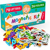 Magnetic Letters and Foam Magnets for Toddlers and Kids - Alphabet Magnets for Fridge and Dry Erase Board - Baby Magnets with