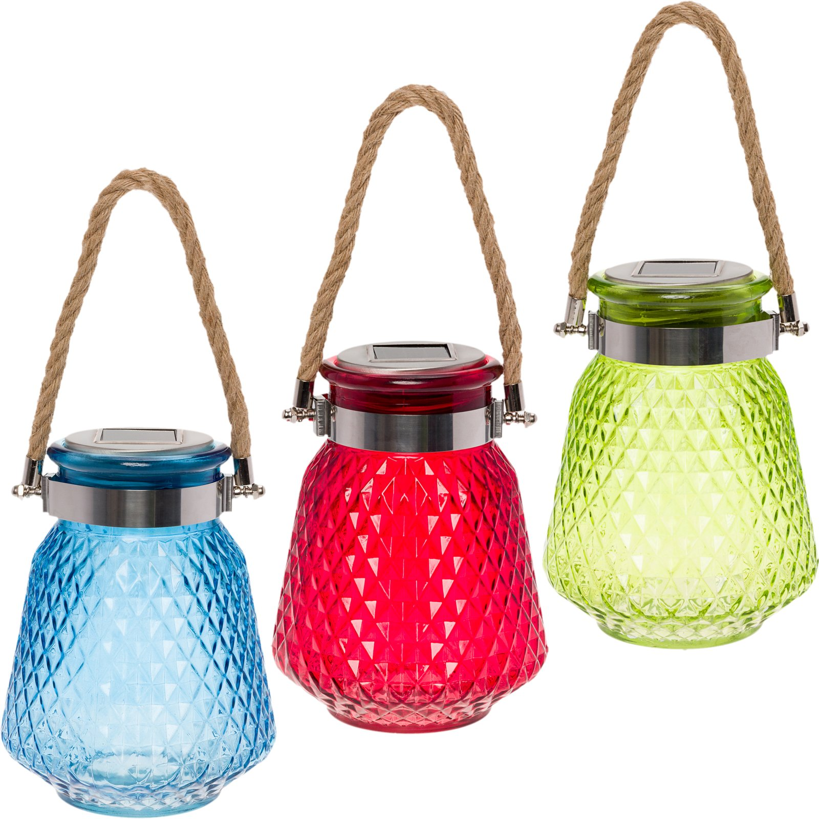 GreenLighting 3 Pack Solar Powered Mason Jar Light - Decorative LED Glass Table Light by (Green, Blue & Red)