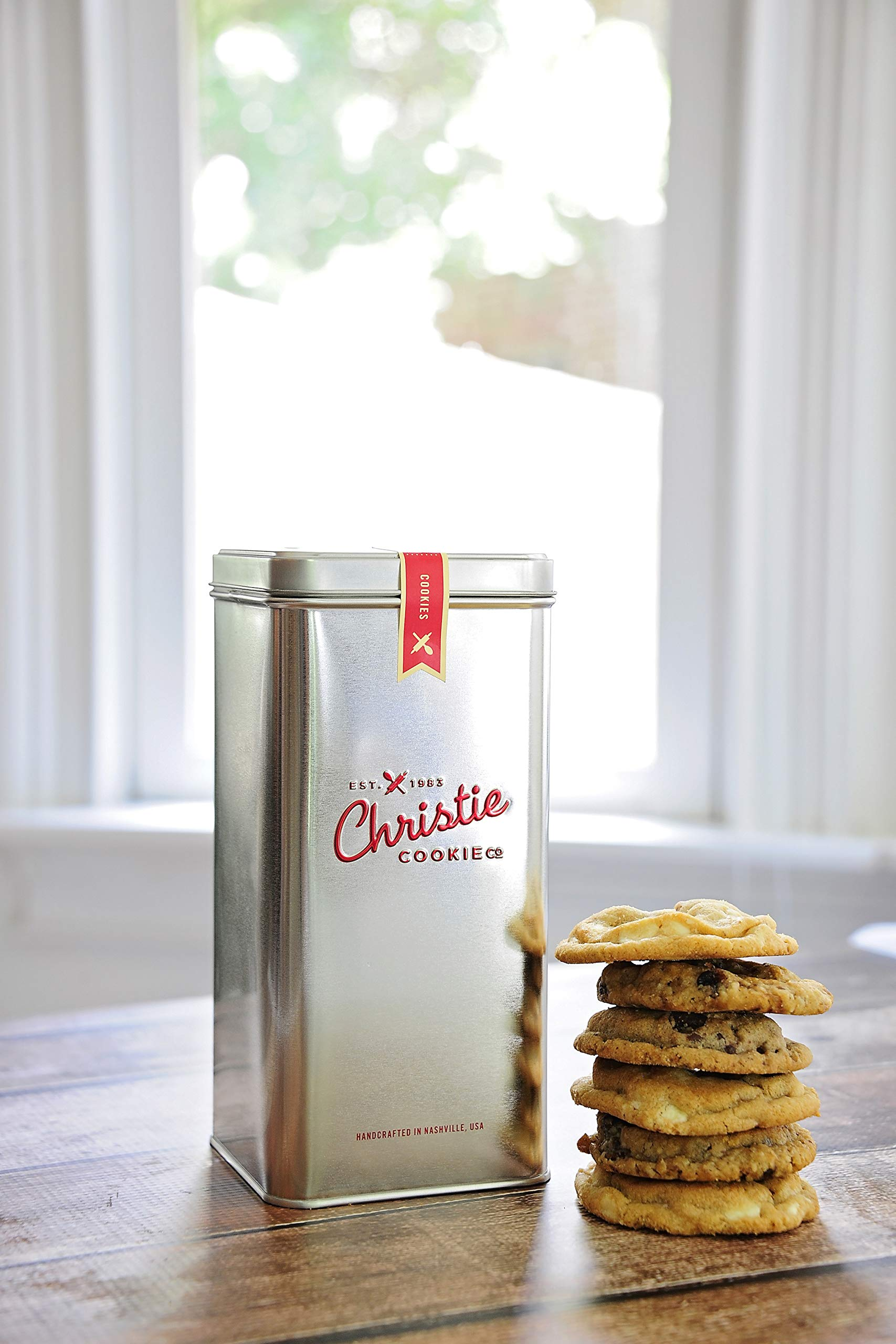 Christie Cookies, Gourmet Assorted Cookies, 12 Fresh-Baked Cookies in Silver Tin, No Added Preservatives, 100% Real Butter, Holiday & Corporate Gift Tin, Birthday Gift Idea for Men & Women by Christie Cookie Co. (Image #1)