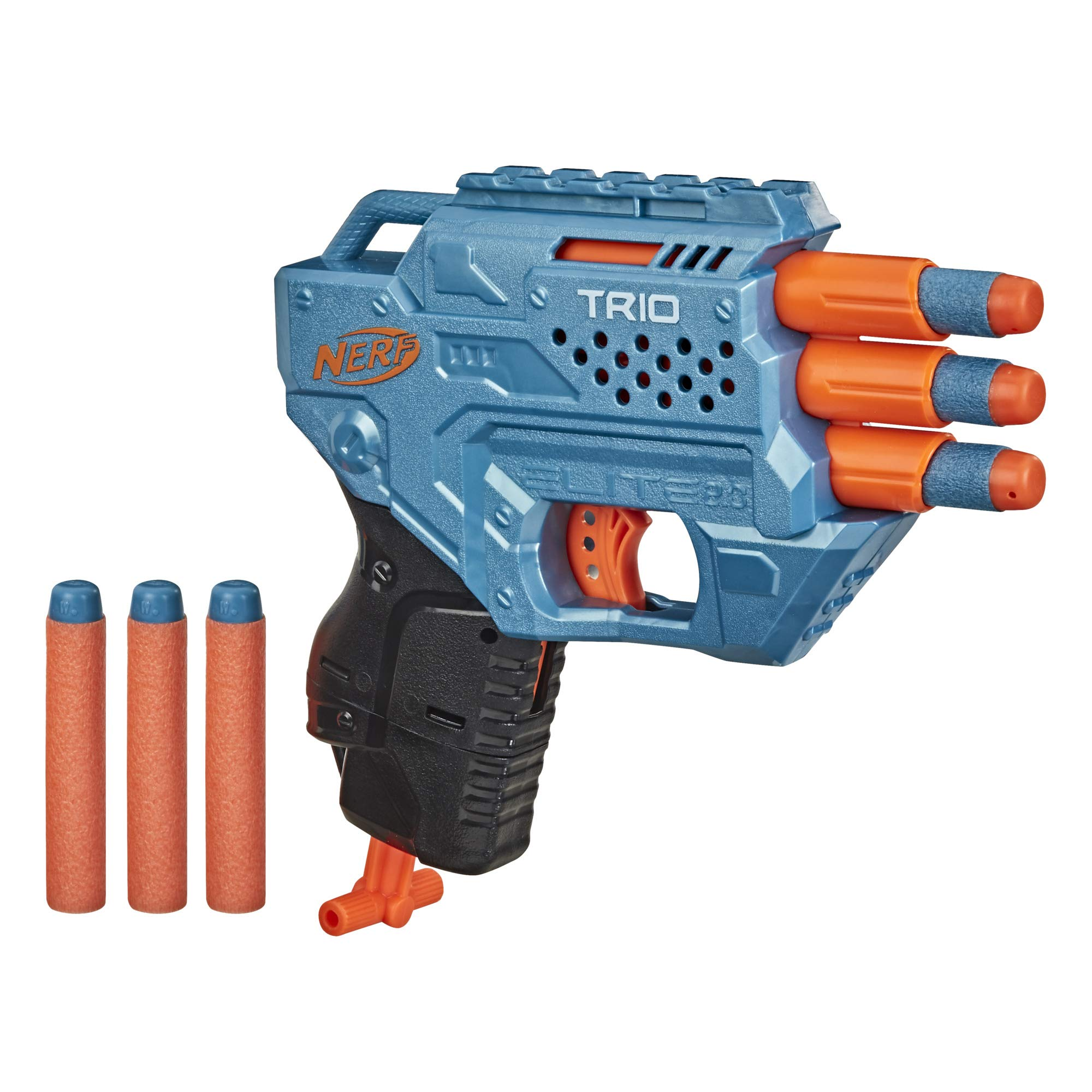 NERF Elite 2.0 Trio SD-3 Blaster -- Includes 6 Official Darts -- 3-Barrel Blasting -- Tactical Rail for Customizing Capability
