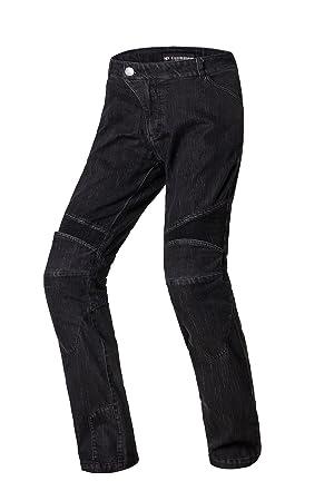 Nerve Ranger Jeans Pantalones Vaqueros de Moto, Negro, L