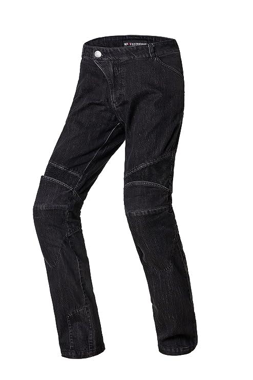 Nerve Ranger Jeans Pantalones Vaqueros de Moto, Negro, S