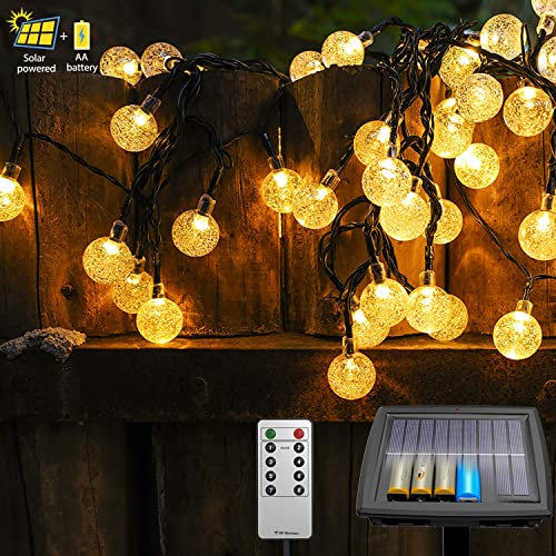 Solar String Lights Outdoor, Outdoor Solar Lights 40 Ft 80 LEDs Waterproof Globe String Lights with Remote, Solar String Lights for Christmas Tree Patio Gazebo Yard Porch Outdoor Decor Warm White